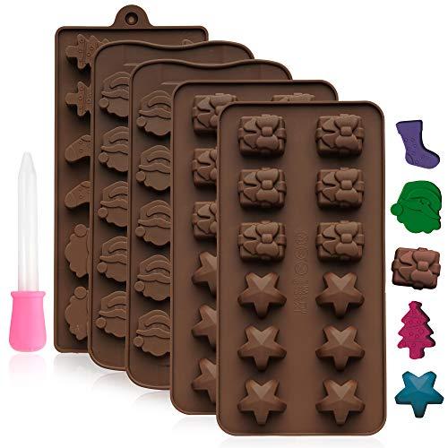 24 Forme in silicone per cioccolatini per decorazioni di natale, fare pupazzi di neve, fiocchi, Babbo natale, alberi e calza della befana, ghiaccioli, dolci e altro.