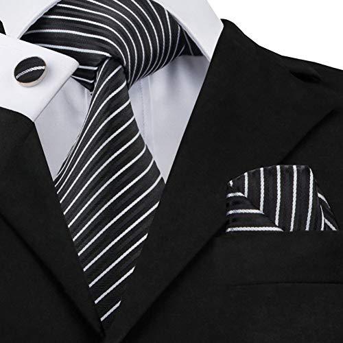 WOXHY Corbata de los Hombres Sn-394 Corbata de Rayas Blancas y Negras