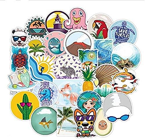 JZLMF 50 unidades de bonitos dibujos animados pequeños graffiti monopatín nevera portátil impermeable pegatinas decoración