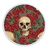 AMZJIEFU Élégant et Unique crâne de Sucre Serviette de Plage Ronde Tapisserie de Gland Floral Tapis de Yoga Rose et Noir Mode Fleur Couverture Toalla-vin Rouge