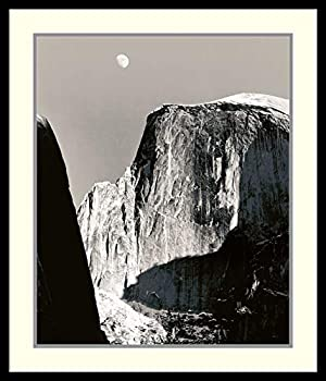 Framed Wall Art Print Moon Over Half Dome by Ansel Adams 26.88 x 31.38 in.