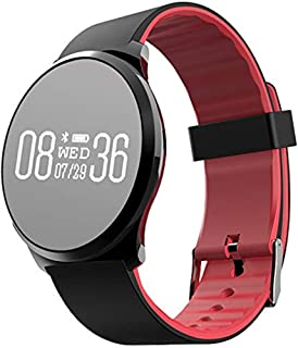 ZHJ-smart wristband Fitness Tracker Pulsera Deportiva Inteligente PulsóMetro Redondo PresióN Arterial Medidor Paso Impermeable Espejo Reloj Inteligente Compatible con Android Y iOS-Rojo/Azul/Negro