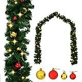 AYNEFY Decoración navideña, corona de puerta, corona de pared, guirnalda de Navidad, adornada con bolas y luces LED, 20 m