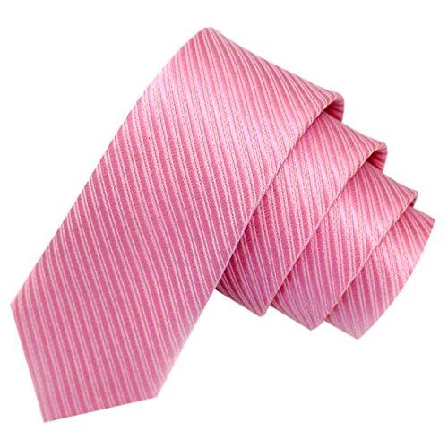 GASSANI Rosa schmale dünne 5cm Krawatte gestreift | Skinny Herrenkrawatte Rosane zum Sakko Anzug | Schlips Binder einfarbig mit Streifen
