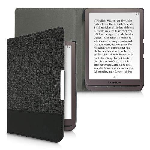 kwmobile Funda de e-Book Compatible con Pocketbook InkPad 3/3 Pro/Color -Case de Cuero sintético Antracita/Negro