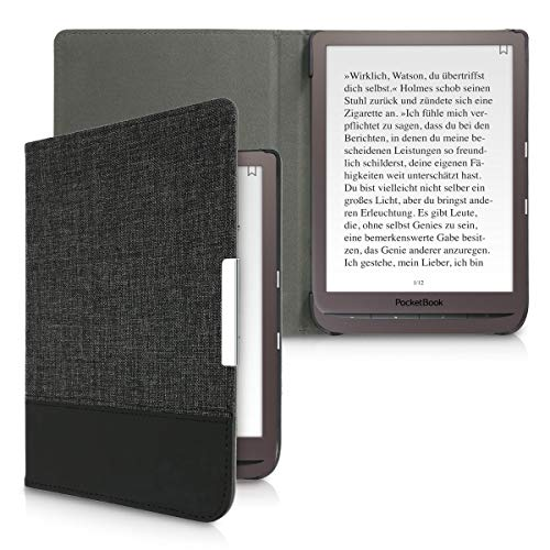 kwmobile Funda de e-Book Compatible con Pocketbook InkPad 3/3 Pro -Case de Cuero sintético Antracita/Negro