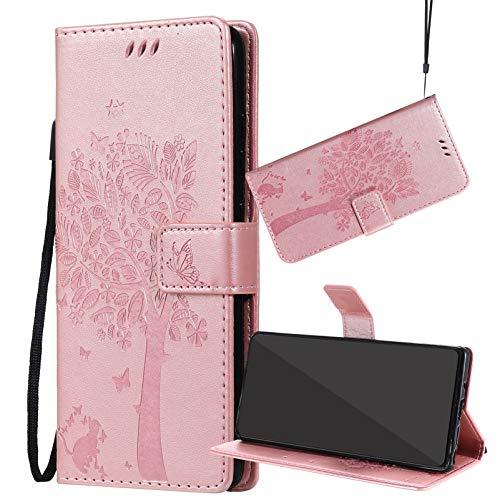 Yiizy Handyhüllen für Xiaomi Mi A1 / Xiaomi Mi 5X, Lederhülle Brieftasche Schutz Hülle TPU Silikon Innenschale Klapp Cover mit Media Kickstand und Kartensteckplätze Design (Roségold)