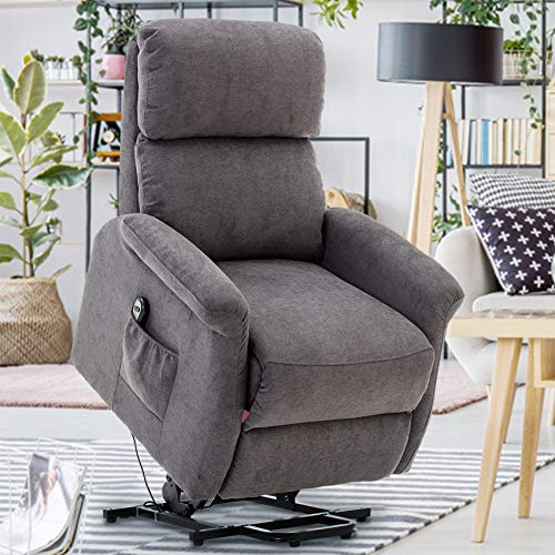 GOOD & GRACIOUS Power Lift Chair Electric Recliner Sofa for Elderly Heavy Duty and Soft Fabric Sleep Lift Chair with Remote Control for Living Room 3 Positions 2 Side Pockets Grey