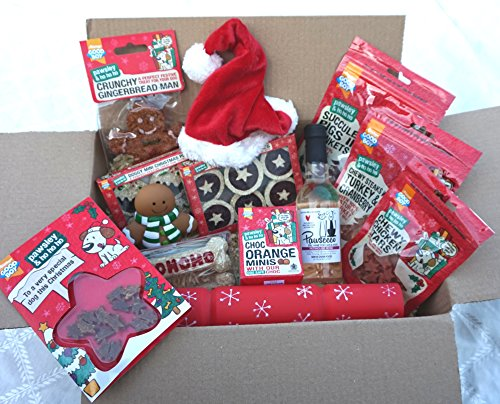 Paradise Pets THE ULTIMATE LUXURY DOG CHRISTMAS HAMPER WITH TREATS TOYS HAT CARD & ROSE WINE