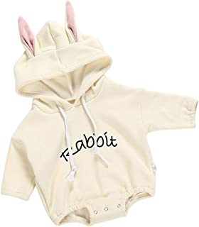 ALLAIBB Long Sleeve Hooded Romper Pullover Jumpsuit for Baby Infant Girls and Boys