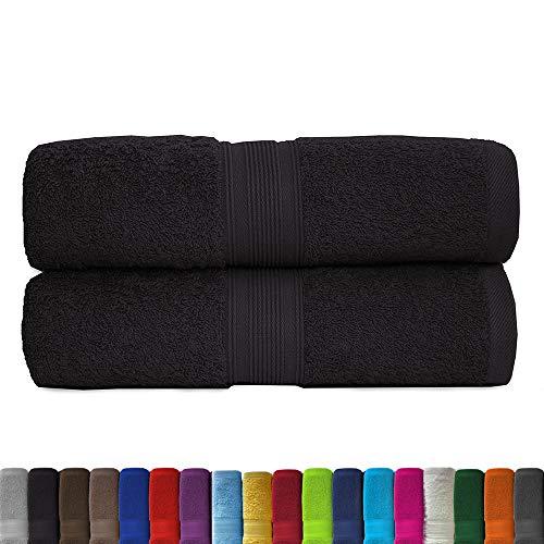 leevitex® 2er Pack Frottier XXL Saunatücher Set 80x200cm - Saunatuch, Sauna-Handtuch, Qualität 500 g/m² - 100% Baumwolle in vielen modernen Farben (Schwarz/Black)