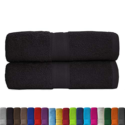 Lot de 2 serviettes éponge Sauna Set 80 x 200 cm – qualité 500 g/m² – 100 % coton dans 19 couleurs modernes., Coton, noir, 80x200 cm