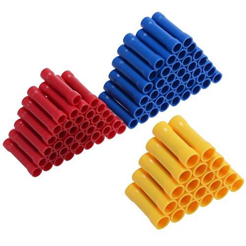 PChero 100pcs Isoliert Stoßverbinder Set für 0,5-1,5mm² / 1,5-2,5mm² / 4,0-6,0mm² Kabel (Nicht Heizbar)