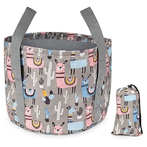 Camping Faltbarer Eimer 26L Tragbare Faltschüssel zusammenklappbare Wasserbehälter Platzsparendes leichtes Waschbecken Flexible Outdoor Warmwasser-Eimer für Reisen Wandern Angeln Wohnwagen Wasch Grau