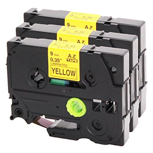3x Schriftband für Brother TZe-621 schwarz auf gelb 9mm breit x 8m Länge kompatibel zu TZ621 P-Touch 1000W 1830 2730 D200 7100 2100 2030 1830 7600 VP 2430 1230 9700 PC 1090 2470 1290 1010 1080 1830 E100 P700 H75S H105