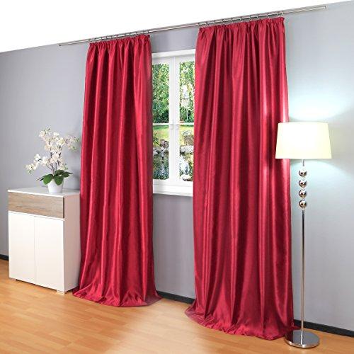 Gräfenstayn® Latika Verdunklungsgardinen Thermogardinen Kräuselband Universalband mit Polar-Fleece - 140 x 245 cm - viele attraktive Farben (Rot)