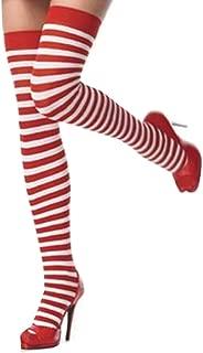 Tameri Tamari Red and White Striped Stockings/Socks One Size