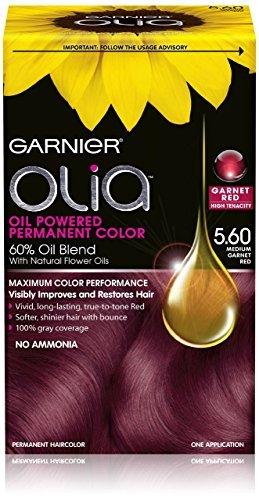Garnier Hair Color Olia Oil Powered Permanent Hair Color - 5.6 Medium Garnet Red (Pack of 3)