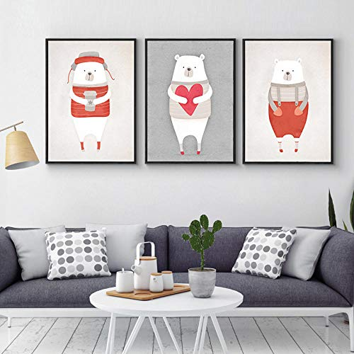 CNHNWJ Leuke karikatuur Polar Bier Pinguïn Nordic poster en print muurkunst canvas schilderij wandschilderijen voor kinderen woonkamer huis decoratie (40x60cmx3 / geen lijst)