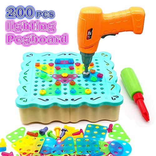 Juguetes Montessori Puzzle 3D DIY 200 Piezas Rompecabezas Bloques Construccion con Taladro de Juguete y 12 Luces LED Juegos Educativos Regalos para Niños 3 4 5 6 Años