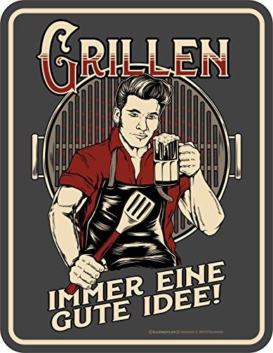 RAHMENLOS Original BBQ-Blechschild: Grillen - Immer eine Gute Idee!