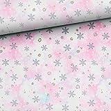 Herz Stoffe Österreich Terry francés con copos de nieve, puntos y estrellas en rosa, azul, gris, no se vende por metros