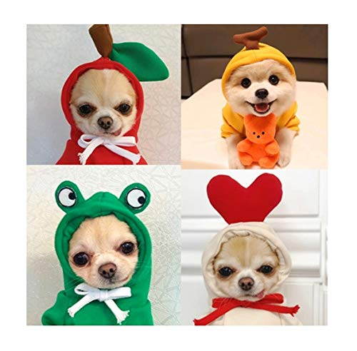 YIKEYO Dog Clothes for Small Dogs Girl Boy Pack of 4 Winter Puppy Sweatshirts with 3D Cute Fruit Design Hood Warm Fleece Sweater for Pet Cat Shih tzu Chihuahua Yorkie French Bulldog