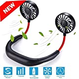 Portable Personal Neck Fan, Hands Free USB Rechargeable Hanging Fan, Adjustable Headphone Wearable Neckband...