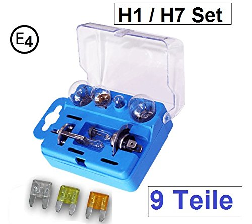 9 tlg. Autolampen Box Ersatzbox PKW H1 und H7 Lampe Auto Ersatzkasten mit E4