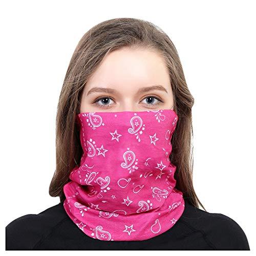 MOTOCO Face Shields Bedrucktes Multifunktionstuch Damen Herren Elastische Halstuch Nahtlose Schlauchtuch UV Schutz für Yoga Radfahren Motorradfahren(25X50CM.Rosa)