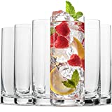 BENETI Exquisite Highball Drinking Glasses [Set of 6] Clear Water Glasses with Heavy Weighted Base, Tall Cocktail...