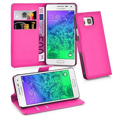 Cadorabo Funda Libro para Samsung Galaxy Alpha en Rosa Cereza – Cubierta Proteccíon con Cierre Magnético, Tarjetero y Función de Suporte – Etui Case Cover Carcasa