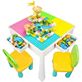 GobiDex 7 in 1 Multi Kids Activity Table Set with 2 Chairs and 100 Pcs Large Size Blocks Compatible with Classic Blocks.Water Table,Sand Table and Building Blocks Table for Toddlers Activity