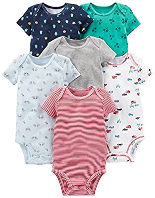Simple Joys by Carter's Baby Boys' 6-Pack Short-Sleeve Bodysuit, White, Blue, Gray/Red, Newborn