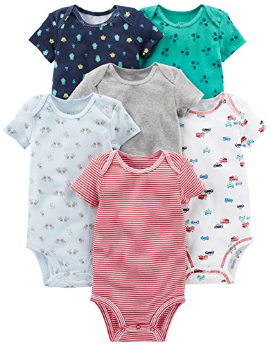 Simple Joys by Carter's Baby Boys' 6-Pack Short-Sleeve Bodysuit, White, Blue, Gray/Red, 12 Months