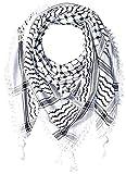 Hirbawi Premium Arabic Scarf 100% Cotton Shemagh Keffiyeh 47'x47' Arab Scarf (Black White)