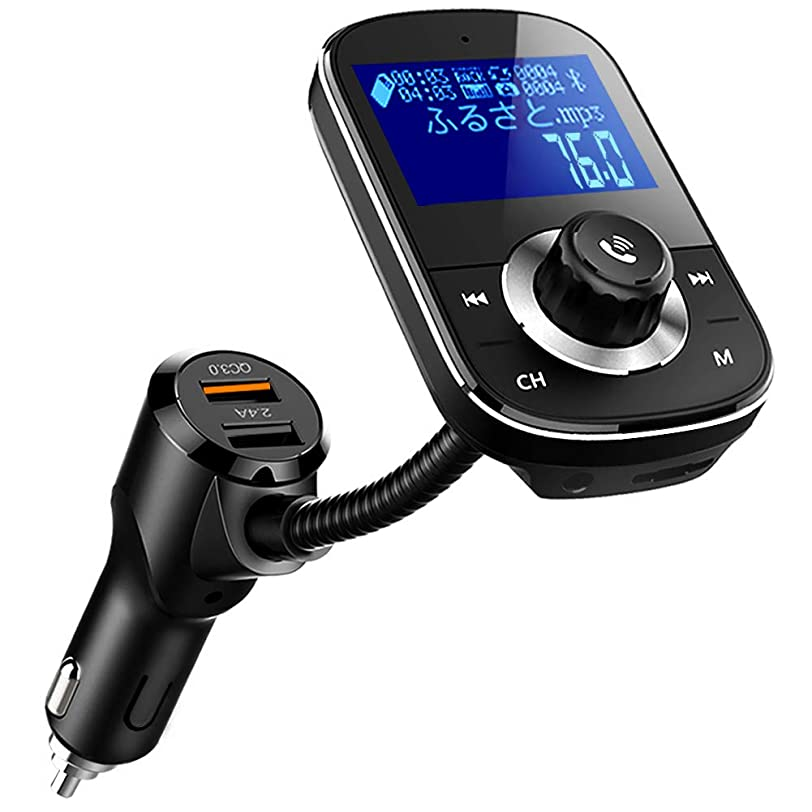 あざローズ以下FMトランスミッター Bluetooth 4.2 高音質 QC3.0急速充電 日本語メニュー EQ設定 4つ楽曲再生モード microSDカード対応 ハンズフリー通話 12V/24V車対応 日本周波数仕様 76.0~90.0Mhz 日本語説明書付き