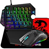 Portable one Handed Gaming Mechanical Keyboard Wired RGB LED Backlit Single Hand keypad Ergonomic Design with Wrist Rest for PC Laptop Computer
