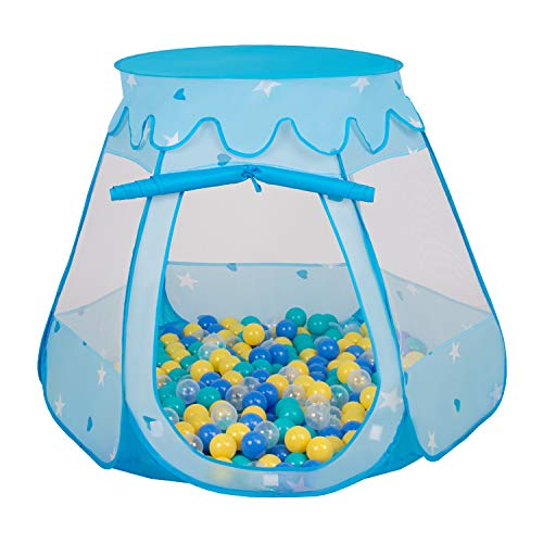 Selonis Baby Spielzelt Mit Plastikbällen Zelt 105X90cm/100 Bälle Plastikkugel Kinder, Blau:Türkis-Blau-Gelb-Transparent