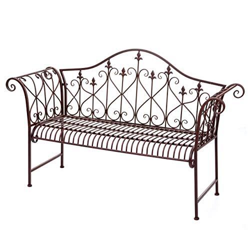 Gartenbank HWC-H78, Parkbank Sitzbank, 2-Sitzer Metall mit Verzierungen Rost-Optik braun 150cm ~ ohne Sitzkissen