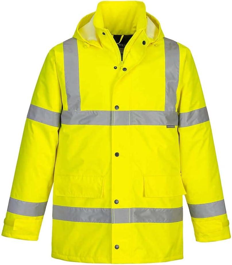 Portwest Workwear S460 Mens Hi-Vis Traffic Jacket Yellow Medium