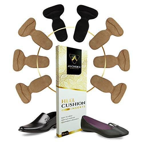 Shoes Too Big Inserts - Heel Cushion Pads - Grips for Blister Prevention and Comfort - Shoe Filler for Women & Men, 4 Pairs