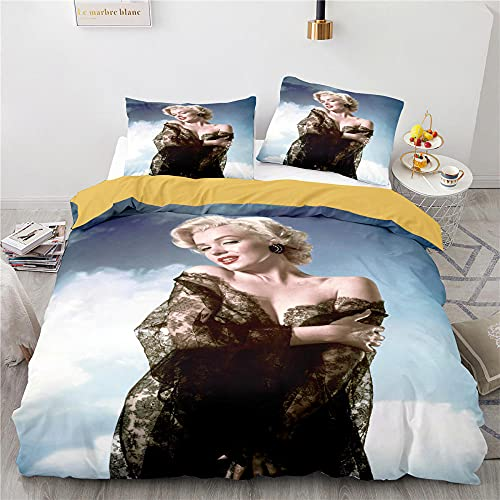 Juego De Cama 3 Piezas Marilyn Monroe Juego De Cama 200X200 con 2 Piezas Funda De Almohada Microfibra Suave Funda Nordica 200 X 200 Cm