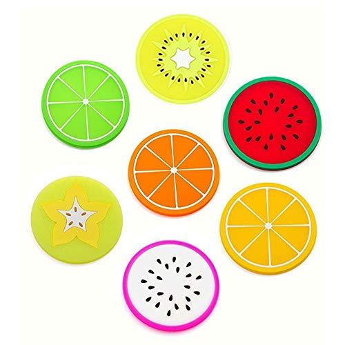 7 Pieza Fruta Posavasos, Redondo Cojines Aislantes De Silicona, Antideslizante Creativo Posavasos, para Decoración de Cocina, Sala de Estar, Comedor, Mesa de Comedor y Mesa de Té (7 Estilos)