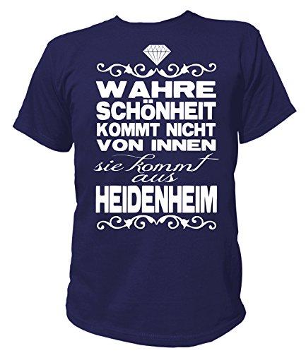 Artdiktat Herren T-Shirt - Wahre Schönheit kommt Nicht von Innen - Sie kommt aus Heidenheim Größe XL, Navy