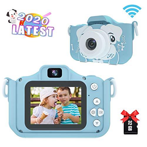Amycute Kinderkamera, Fotoapparat Kinder Selfie und Videokamera mit 32 Megapixel/Dual Lens/2 Inch Bildschirm/2.5k UHD/32G TF/2,4 Tausend Fotos/WiFi+APP für 4-10 Jahre Jungen Mädchen Blau