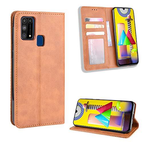 Snow Color Galaxy M31 / M21 Hülle, Premium Leder Tasche Flip Wallet Case [Standfunktion] [Kartenfächern] PU-Leder Schutzhülle Brieftasche Handyhülle für Samsung Galaxy M31 / M21 - COBYU010218 Braun