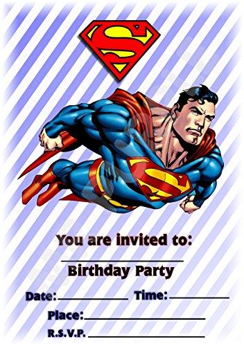 Superhero Superman Birthday party Invites–ritratto Stripe...