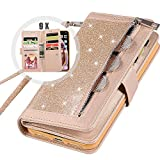 iPhone 6S Plus Wallet Case with Strap for Women,Auker Bling Glitter Leather Trifold 9 Card Holder Flip Magnetic Wallet Purse Case with Zipper Coin/Cash Pocket&Fold Stand for iPhone 6 Plus (Gold)