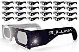 Solar Eclipse Glasses - CE and ISO Certified Safe Shades for Direct Sun Viewing - Made in the USA (25 Pack) by Soluna
